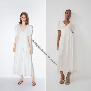 ZARA WHITE V NECK VOLUMINOUS TEXTURED WEAVE DRESS